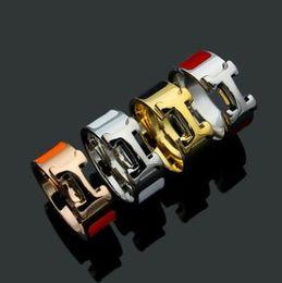 Preço de atacado 316L titanium aço moda anel com esmalte quatro cores mulheres marca original h anel jóias frete grátis de Fornecedores de marcação a laser