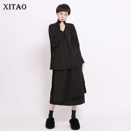 tees korea women Coupons - [XITAO] Women Autumn 2019 New Arrival Korea Fashion Turtleneck Full Sleeve Loose T-shirt Female Solid Color Casual Tee CXB1341