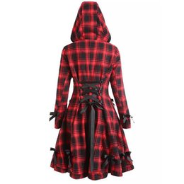 Langer schwarzer mantel gotisch online-Wipalo Herbst Winter Gothic Trenchcoat Vintage Rot Schwarz Plaid Zurück Tunnelzug Lange Mantel Mit Kapuze Einreiher Mäntel