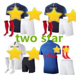 Camisetas de fútbol completo online-1919 2019 Francia Edición especial Centenario HENRY camiseta de fútbol de 2 estrellas mbappe GIROUD GRIEZMANN kante 18 19 Franc ZIDANE camiseta Kits para adultos