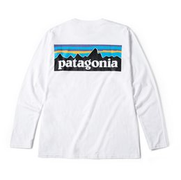 Montaña Patagonia Hombres Diseñador Camiseta Primavera Otoño Impresión Blanca Camisetas de moda de manga larga Tops Tees desde fabricantes