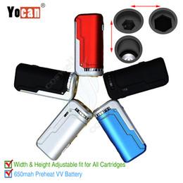 Размеры аккумуляторов онлайн-Оригинал Yocan UNI Mod 650mAh Разогреваемое напряжение переменного тока Регулируемая батарея для всех размеров ширины Толстые масляные картриджи и сигареты Vape Pen Vapors