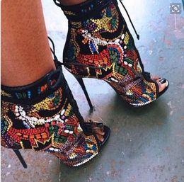 botas abertas para os tornozelos Desconto Moda Cristal Coberto Do Dedo Do Pé Aberto Botas Lace Up de Salto Alto Sandálias de Verão Ankle Boots Multicolor Diamante Sexy Ladies Stiletto