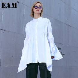 9af3e74c0fd7ab big sleeve white blouse Coupons - [EAM] 2019 New Spring Summer Stand Collar  Long