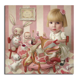 tea wall decor Coupons - Rosie's Tea Party By Mark Ryden Canvas Painting Wall Art Street Poster HD Print Picture for Living Room Home Decor