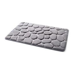Canada Lucky Home Gris 3D Pebbles Tapis De Bain 40x60cm Cobblestone Absorbant Salon, Cuisine, Porte, Tapis Pour La Décoration De La Maison Chambre étage (Gris) cheap pebble mats Offre