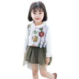 Платья для девочек из флиса онлайн-Осень 2 шт. Платье девушки новорожденных девочек, детей, детей, флисовый жилет жилет + винтажное платье принцессы с длинным рукавом платье