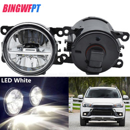 2019 iluminación asx 2 UNIDS Super Brillante LED Luces de Niebla coche blanco que labra el tope redondo para Mitsubishi ASX 2017-2018 rebajas iluminación asx