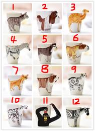 Canecas de cerâmica animal on-line-Criativo 3D Pintados À Mão Animal de Cerâmica Canecas de Café Dos Desenhos Animados 3D Leite Animal Copos LOGOTIPO Personalizar Frete Grátis
