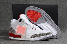 best service 16144 5e2ac 2019 chaussures décontractées blanches Top Qualité 3 Blanc et Rouge Hommes  Casual Chaussures Noir Ciment Infrarouge