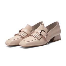 metall quasten großhandel Rabatt Großhandel Quasten Quadrat Metall Schnalle Büro Kleid Schuhe Hochwertige Echtes Leder Frauen Oxfords Schuhe Mode Lässig Schuhe Neue Ankunft