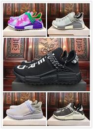 2019 zapatos de puesta a tierra 2018 nueva Tierra BBC Holi Cream trail Hombres Mujeres Zapatillas Pharrell Williams HU Runner Glow sports Trainer sneaker 36-45 rebajas zapatos de puesta a tierra