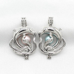 Прелести для медальонов ожерелья онлайн-Посеребренные Дельфин Жемчужина клетка медальоны диффузор клетка кулон ожерелье ювелирные изделия подвески для духов эфирное масло