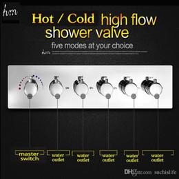 dusche warmwasser-mixer Rabatt KAN 5 Funktion 6 Griff Badezimmer Dusche Zubehör Wasserdurchfluss 70L / min Hot Kaltmischventil Badewanne Dusche Wasserhahn Umsteller 161222 # 161225