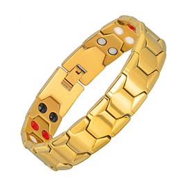 Pulseira de homem on-line-Aço 4 em 1 Saúde Magnetic Therapy pulseira homens Moda Preto 4 Elements inoxidável Pulseiras Bangles