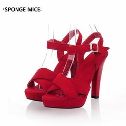 Темно-синий каблук сандалии онлайн-Large Size 35-45  New Women's Shoes Thick Heel Super High Heel Sandals Roman Shoe Buckle Navy Blue Purple Pumps #0340