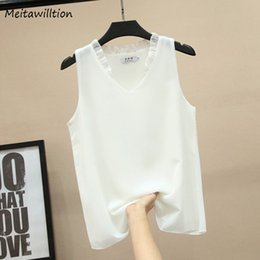 2019 рубашка без рукавов без рукавов Summer Chiffon Blouse Shirt For Women 2019 Casual Sleeveless V-Nech Ruffle Blouse Loose Tops Female Summer White Shirt дешево рубашка без рукавов без рукавов