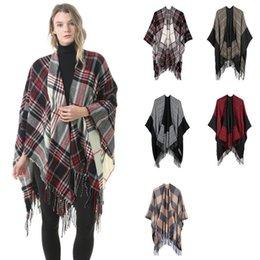 Envoltórios para mulheres de poncho de capa on-line-Pashmina xadrez 6 cores da moda inverno quente xadrez ponchos oversized xales e wraps lenços de cashmere mulheres capa 6 pcs ljjo7148