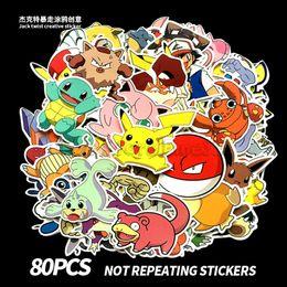 Pokemons 80pcs / lot imperméable Cartoon autocollants PVC Film Accessoires Pikachu ELF DIY autocollants sur la voiture moto bagages portable vélo ? partir de fabricateur
