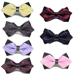 hombres pajarita rhinestone Rebajas Moda de Lujo Diamond Bow Tie Glitter Crystal Rhinestone Hombres Tuxedo Bow Tie Triángulo Ajustable para el banquete de boda de regalo
