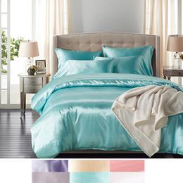 шелковый одеяло король Скидка 100% Чистый Атласный Шелк, Домашний Текстиль King Size Bed Set, Постельное Белье, Королева Размер Пододеяльник Наволочки Одеяло