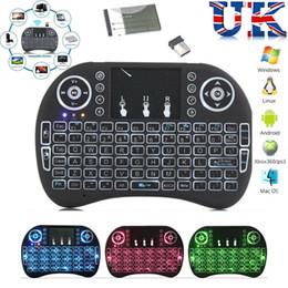 Caixas de tv sem fio on-line-Mini caixa de controle remoto sem fio da tevê do andróide do teclado do rato do ar de Rii i8 do teclado