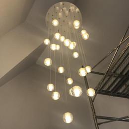 grandi cristalli a bracci Sconti Moderno led grande scala lampadario di cristallo apparecchi di illuminazione appeso lustre cristal lungo loft sfere di vetro lampada lampadario AC110-240V