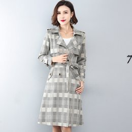 xs mujer abrigo largo coreano Rebajas 2019 Otoño Mujer Trench Coat Manga larga Causal Plaid Windbreaker Mujer Doble botonadura Patchwork Moda coreana Ropa de abrigo 972