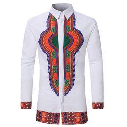 Más el tamaño de la moda étnica online-Laamei 2019 Camisa de hombre de la vendimia Camisa de manga larga ocasional Tallas grandes Ropa de hombre Moda étnica africana Imprimir Hombre Blanco
