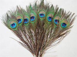 Настоящие перья онлайн-Элегантные декоративные материалы Real Natural Павлин Перья Красивые Перья около 25-30 см бесплатная доставка