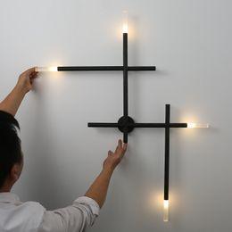 Croix de fer or en Ligne-Art moderne croix forme lampes de mur LED industriel applique murale allée salon chambre chevet fer applique murale noir or
