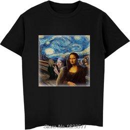 telefono celular harajuku Rebajas Venta caliente Moda Mona Lisa Starry Knight Art Funny Group Selfie Cell Phone Meme Tshirt Hombres camiseta divertida Harajuku Streetwear