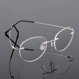 óculos de titânio sem aro para homens Desconto Retro rodada dobrável titanium liga ultra-leve memória miopia óculos sem aro elasticidade óptica óculos de armação homens óculos