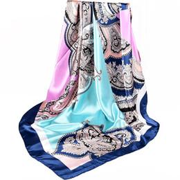 темно-синий розовый шарф Скидка Женщины Китайский Стиль Темно-Синий Розовый Шелковый Шарф Шаль Зимний Бренд Квадратные Атласные Шарфы Обертывания Весна Осень Платки 90 * 90 см