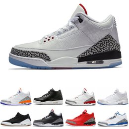 758359ab207f 2019 Mocha Knicks Rivals International Flight Basketball Shoes for man 3 3s  game Tinker JTH Fire Red Black cement man Trainer Sports shoes discount red  box ...