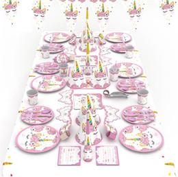 Packs de vaisselle parti en Ligne-Enfants Décoration De Fête D'anniversaire Fournitures 90pcs Coloré Thème Licorne Thème Vaisselle Vaisselle Ensemble Serviette Tasse De Table Nappe Drapeau Parti Cadeau Ensemble