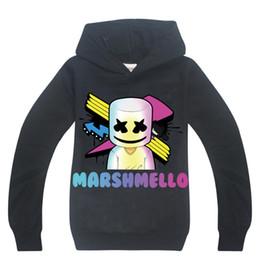 Mascarilla de algodón para niños online-Marshmallow Kids Hoodie Dj Music Mask Ropa de niños Camiseta para niños Chicas Tops 2019 Nuevos adolescentes manga larga camiseta de algodón 13Y