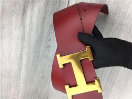 Cintos pretos largos para mulheres on-line-Cinto das mulheres de Moda de luxo fivelas de fivela de ouro liso carta de lazer grande cintos de fivela O cinto preto e vermelho é de 7 cm de largura A0-3567