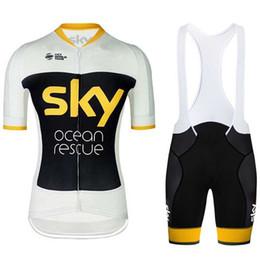Jersey de ciclismo cielo baberos cortos online-Tour de France SKY Pro Team 2019 Hombres Ciclismo Jersey Ropa deportiva Verano MTB bicicleta ropa Ropa Ciclismo hombre Conjunto de pantalones cortos de secado rápido