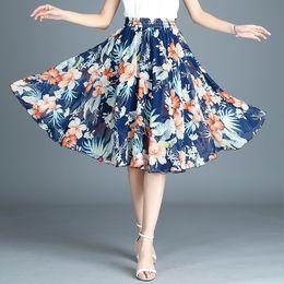 Canada 2019 d'été élasticité jupe femmes taille haute mode coréenne petite Art frais Floral jupe en mousseline de soie femelle Offre