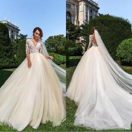 2019 Vestido de boda de manga larga Boho Western Garden A Line Sheer apliques Tulle fruncido vestidos de novia largos bohemio más tamaño desde fabricantes