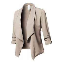бежевый рабочий жакет Скидка Womens Three-Quarter Sleeve Office Lapel Coat Open Front Cardigan Jacket Solid