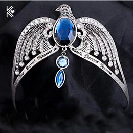 Cabelo antigo on-line-Ravenclaw Perder Crown Horcrux Nupcial Hairbands Antique Prata Eagle Animal Azul de Cristal Headbands Acessórios Para o Cabelo Do Casamento D19011102