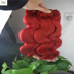 2019 наращивание волос 22 дюйма красный Чистый красный цвет тела Волновые Связки бразильские волос Плетение Extensions 100% человеческих волос Пучки Double Уток волос Remy Extensionbs 1 шт 10-30 дюймов дешево наращивание волос 22 дюйма красный