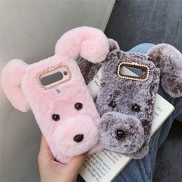 Per LG V50 Stylo 5 Samsung Note 10 Pro S10 S9 M10 M20 A10 A9 A70 A60 3D Lucky Dog Hair Custodia morbida in TPU Ear Bling Diamond Nose Fluffy Fur Cover da