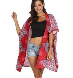 Cardigan nacional online-Explosivo viento nacional Mandala imprimir Long Beach blusa de las mujeres un tamaño protector solar Cardigan Shawl Top Sexy Bikini socio