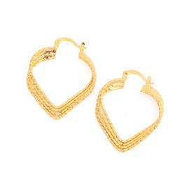Brincos coração 24k on-line-Nova Moda Simples e Elegante Mulheres Brincos 24 k Cor do Ouro Brincos Do Parafuso Prisioneiro Do Coração Brincos de Jóias