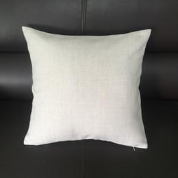 Canada 14x14 pouces taie d'oreiller en lin blanc faux pour bricolage sublimation plaine couverture de toile de jute faux coussin de broderie flans Offre