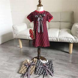 2019 12-месячные девушки фиолетового платья FF дети цельный платье парирует шею с коротким рукавом дети бантом летние платья мода ребенок девочка дизайнер одежды B6202