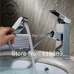 polimento da torneira Desconto Pull out torneira Design para lavar o cabelo e rosto polido Chrome Chrome Bathroom Faucet Bacia sink Mixer Tap.Torneira Banheiro.